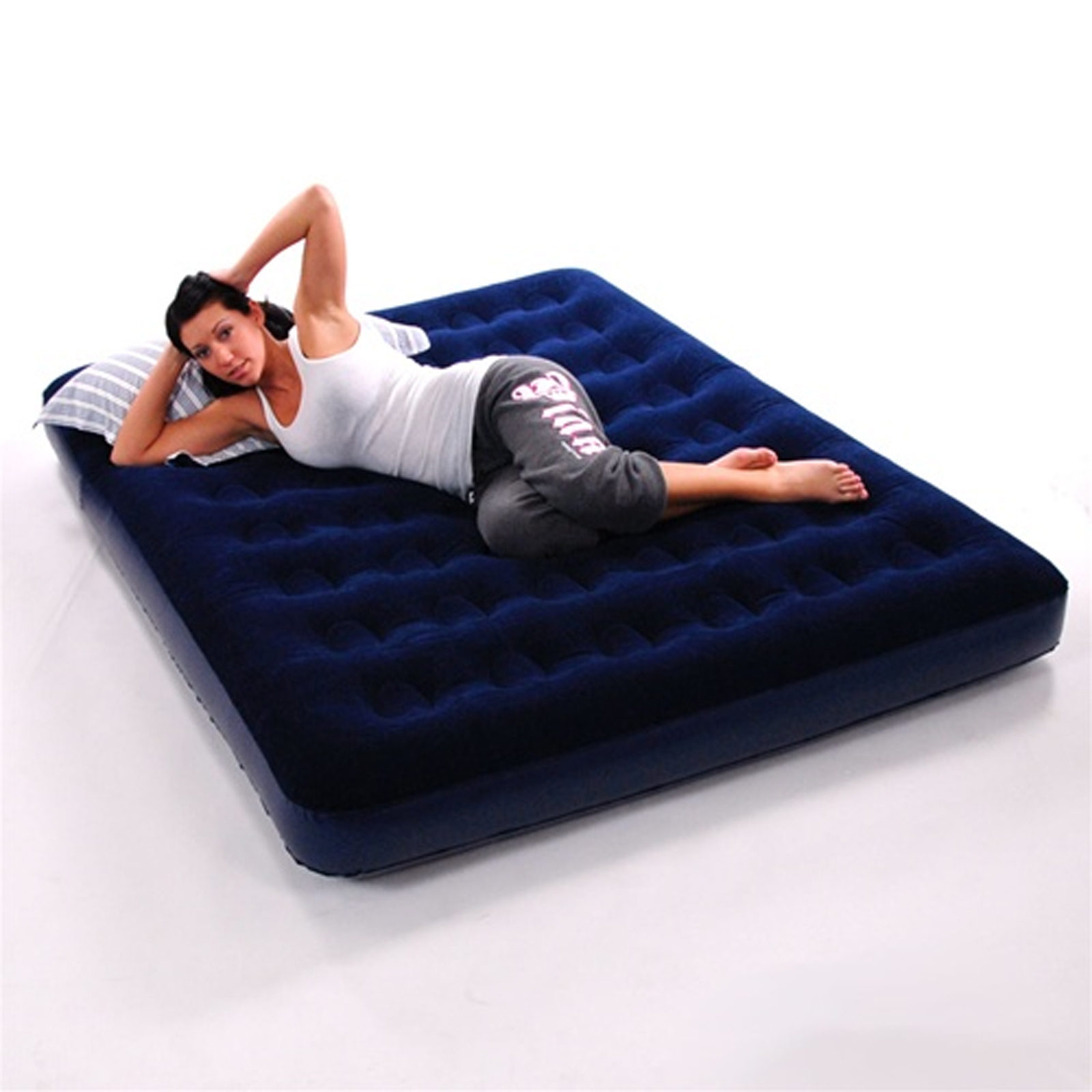 double inflatable flocked blow up air bed airbed guest. Black Bedroom Furniture Sets. Home Design Ideas